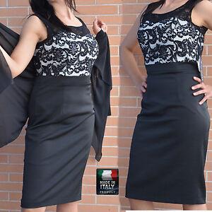 Vestiti Cerimonia 44.Abito Vestito Elegante Cerimonia Donna Pizzo 44 Made In Italy Ebay