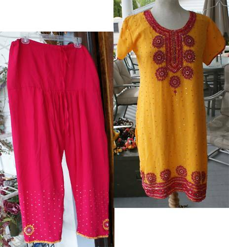 POSHAK BEADED SEQUIN BOLLYWOOD PANTS JEANIE OUTFIT