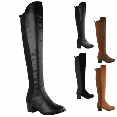 Details about  /Womens Over Knee Boots Low Heels Pull On Stretch Thigh Velvet Shoes Plus Size
