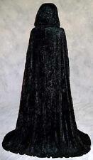 Unlined Black Velvet Cloak Renaissance Medieval Cosplay Cape LOTR LARP Star Wars