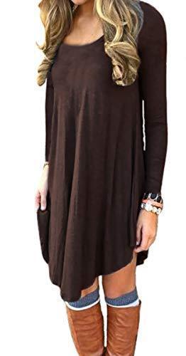 DEARCASE Women/'s Long Sleeve Casual Loose T-Shirt Dress
