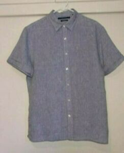 Mens-Perry-Ellis-Short-Sleeve-100-Linen-Button-Up-Shirt