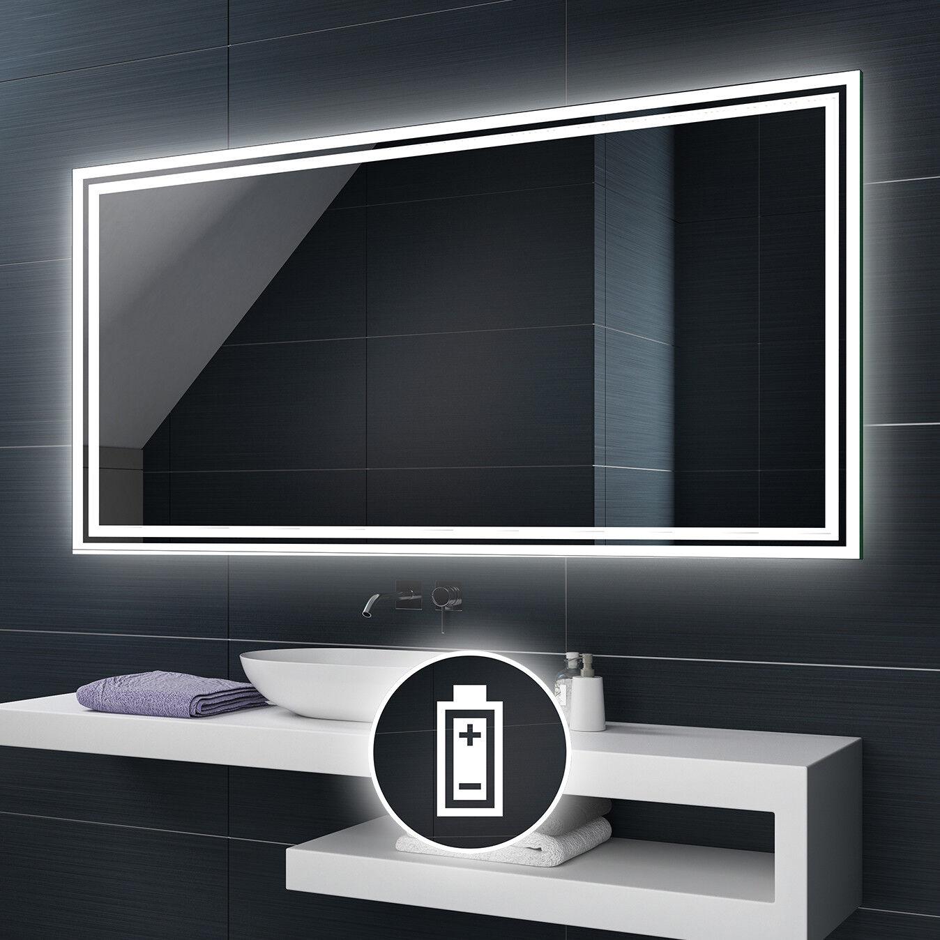 Alimenté par batterie DEL illuminé Miroir de salle de bains Batterie taille personnalisée L57
