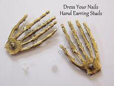 Skeleton Hand Earrings Bony Stud Fingers Bronze  Halloween Jewellery