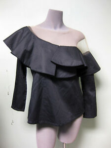 67c681062f0 Johanna Ortiz NEW Black Poplin Nude Mesh Lazarote One Shoulder Top ...