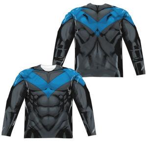 de manga con manga estampado larga dos azul de de de y larga Camiseta caras uniforme Nightwing Batman 5p8tg