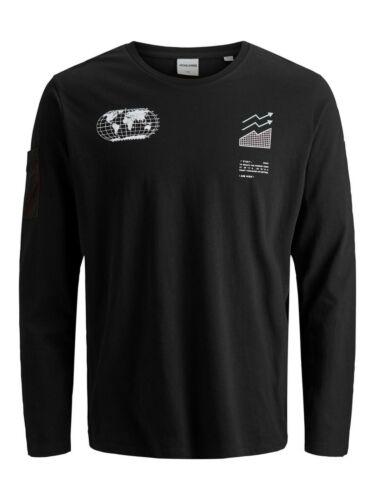 Jack /& Jones Core T-Shirt Logo Print Crew Neck L//S Oversize Tee Mens JCOSummit