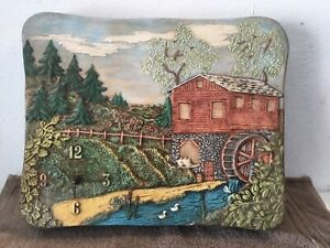 Vintage-Holland-Mold-Ceramic-Water-Wheel-Mill-Scene-Wall-Clock-16-1-2-X-13-1-2