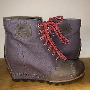 97b698743d5 Sorel PDX Wedge Lace 8.5 1964 Lea Joan Arctic Grey Elk Purple Ankle ...