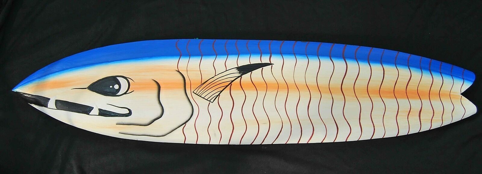 Decor Surfboard with Predator Fish Motif in 100cm Length Surf Board Fish
