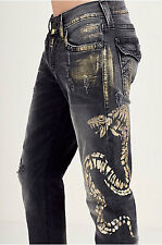 True Religion Men's Ricky Core Straight Golden Cobra with Flaps Jeans size 36