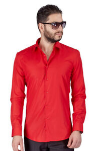 Tailored Slim Fit Mens Coral Dress Shirt Wrinkle-Free Spread Collar AZAR MAN