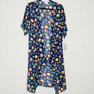 Nuovo-con-etichette-lularoe-Shirley-Kimono-DUSTER-taglia-small-blu-stampa-Lunghi-Stampa-Geometrica
