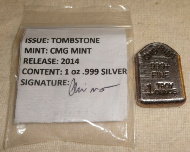 2014 Halloween RIP Tombstone Antiqued .999 Fine Silver Bar CMG Mint MINTAGE 15