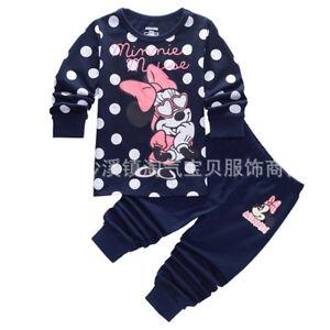 43a202ba1d79 2Pcs Kids Girls Baby Minnie Mouse Sleepwear Homewear Pyjamas ...