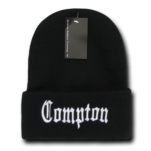 Black /& White Compton Vintage Embroidered Hip Hop Cuffed Beanie Beanies Hat Hats