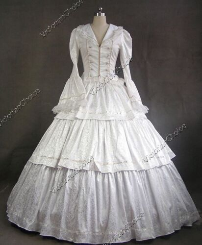 Victorian Choice White Brocade Vintage Wedding Gown Dress Theater Clothing 188