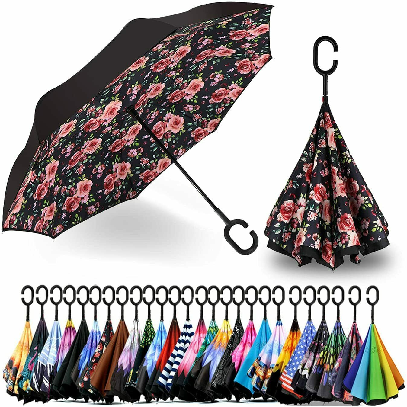 Double Layer Inverted Umbrella with C Shaped Handle Anti UV Waterproof Windproof