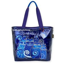 Laurel Burch Foiled Indigo Cats LARGE Tote Bag Russian Blue NEW 2017