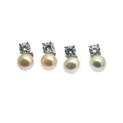 Pendientes de perlas con diamante de imitación Stud plata esterlina cultivadas perlas de agua dulce
