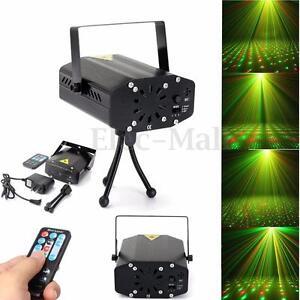 Mini LED R&G/RGB Laser Stage Light Adjust Xmas DJ Party Projector Lamp Remote