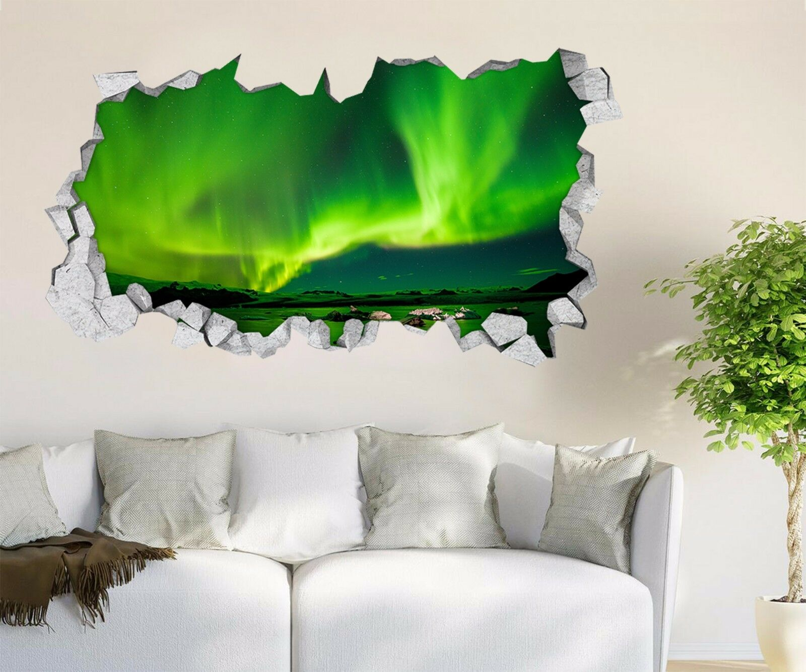 3D green Aurora 258 Parete Murales Adesivi Decal Sfondamento AJ WALLPAPER IT