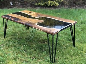 Details about Black Diamond Epoxy Resin River Coffee Table