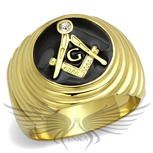 Men/'s Masonic Freemason Ring Yellow Gold IP Top Grade Crystal Accented TK2224