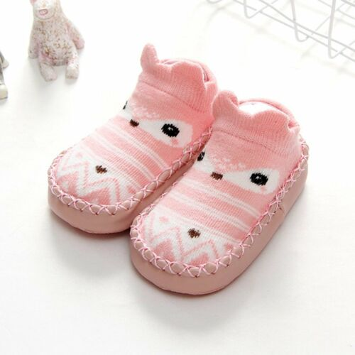 Newborn Baby Girl Boy anti-dérapant Cartoon Chaussettes Floor Slipper Chaussures Bottes Chaussettes