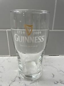 VINTAGE GUINNESS BEER CLEAR GLASS BREWED IN DUBLIN HARP 1759 TO 2009