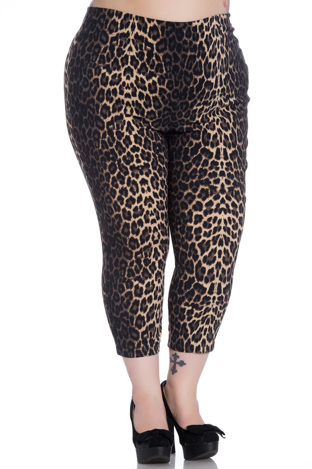 Plus Size Cropped Panther Pantera Leopard Capri Trousers Pants XXL STRETCH