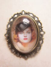 Antique Bronze Plated Vintage Beautiful Lady Brooch New in Gift Bag 1940's