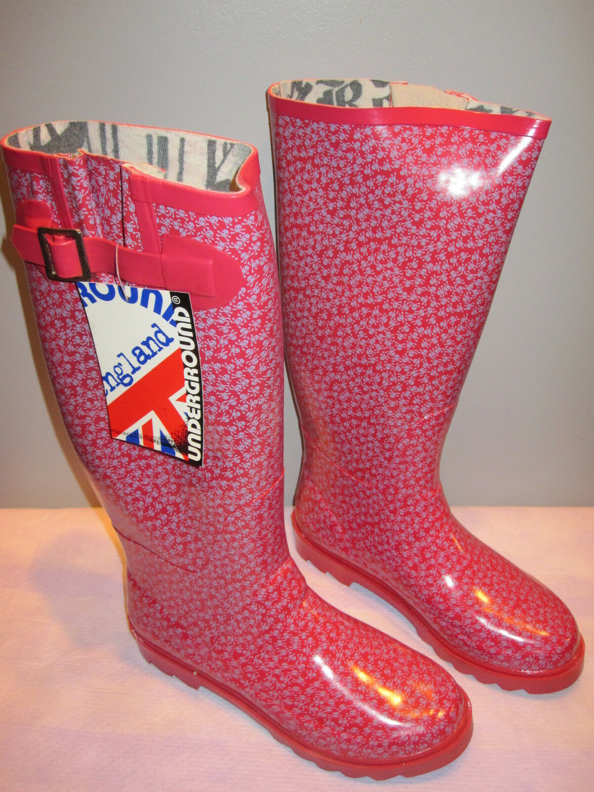 NOS UNDERGROUND ENGLAND WELLiNGTON WELLiE RUBBER UK5 Stiefel PiNK JOLLY ROGER UK5 RUBBER US7 3146e4