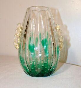 vintage hand blown art glass Italian Murano Venetian cactus bubble vase Italy