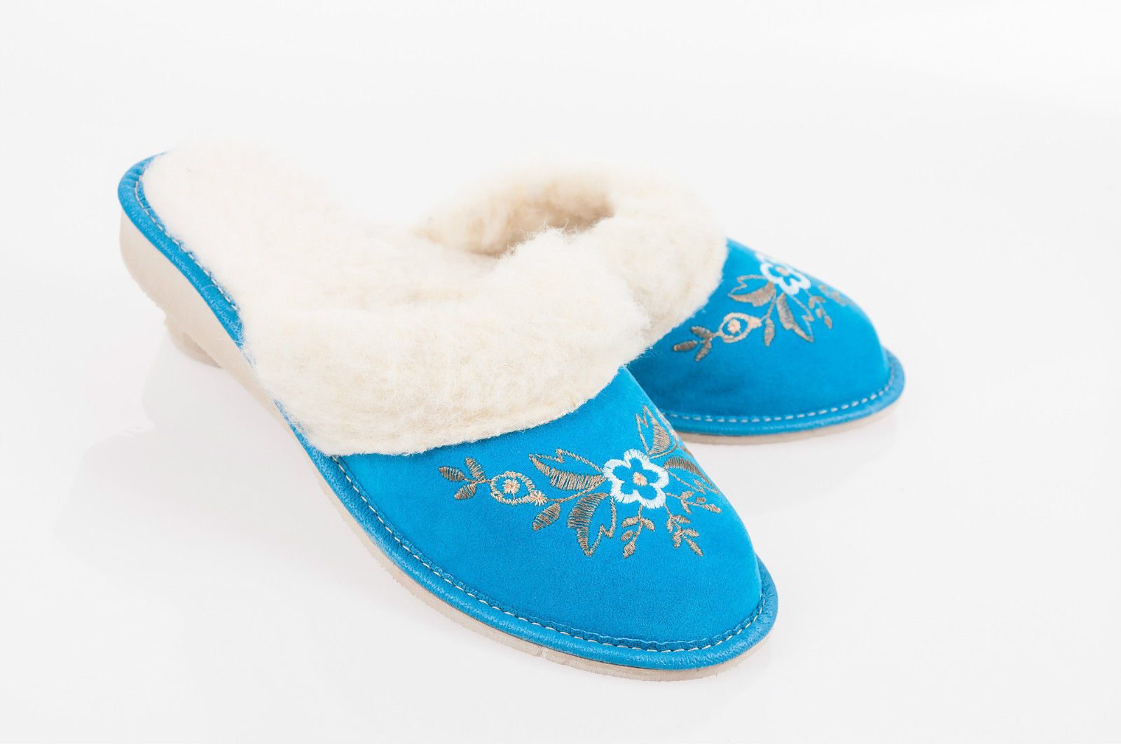 Women Blue 100% Suede Leather Slippers Wool Shoes Size 3 8 4 5 6 7 8 3 Flip-Flop F 479515