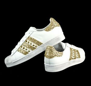 Details about Adidas Superstar with Gold Glitter More on Gold Stud