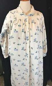 Lanz-of-Salzburg-100-Cotton-Flannel-Nightgown-Flowers-And-Cherries-Sz-S