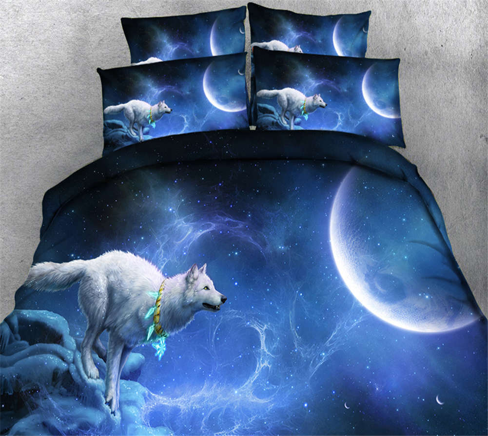 View Of The Wolf 3D Printing Duvet Quilt Doona Covers Pillow Case Bedding Sets