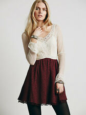 NEW FREE PEOPLE $148 LONG SLEEVED VICTORIA LACE MINI DRESS SZ 10