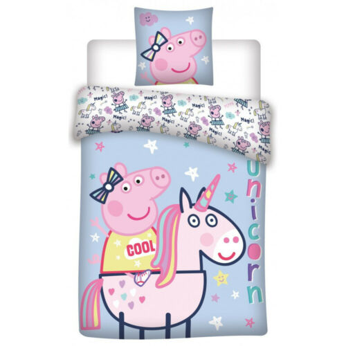 Peppa Pig Unicorn Bedding COTTON Single Reversible Duvet Cover Pillow Bed set