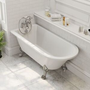 Freestanding-1500mm-Traditional-Roll-Top-Bath-White-Single-Ended-Legs-Included