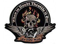Throttle It Out Funny Embroidered Hog Mc Club Biker Vest Back Patch Lrg-0544