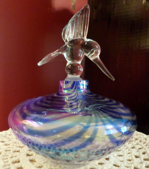 Large Blown Art Glass Hummingbird Perfume Bottle Blue and Clear Irridescent