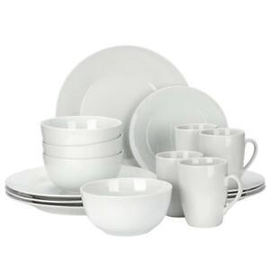 16 Pieces Round Dinnerware Set, Grey-White Finish Home kitchen- LIVINGbasics™