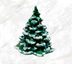 Vtg-70-039-s-Ceramic-Christmas-Tree-With-Colored-Bulbs-Snow-Capped-Small