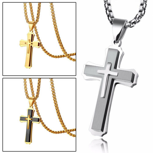 """Polished Stainless Steel Men Women Cross Crucifix Pendant Necklace Chain 22/"""""""