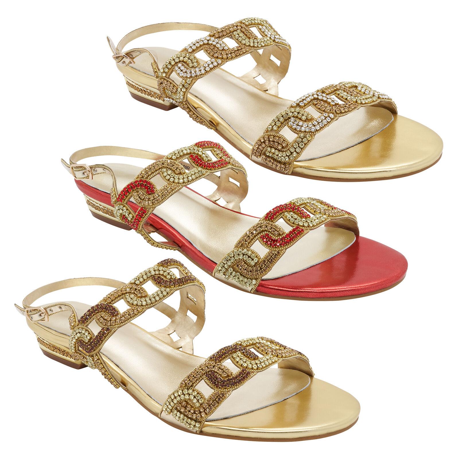 Para Mujer señoras Diamante Correa Joya Sandalia Zapato De Playa Verano Fiesta Boda nupcial