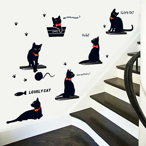 Wandtattoo-Wandsticker-Kinderzimmer-Wohnzimmer-Elegante-Schwarze-Katzen