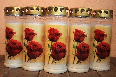 5 Grabkerzen rote Herzen T7 Golddeckel Grabkerze Grablicht Grabschmuck