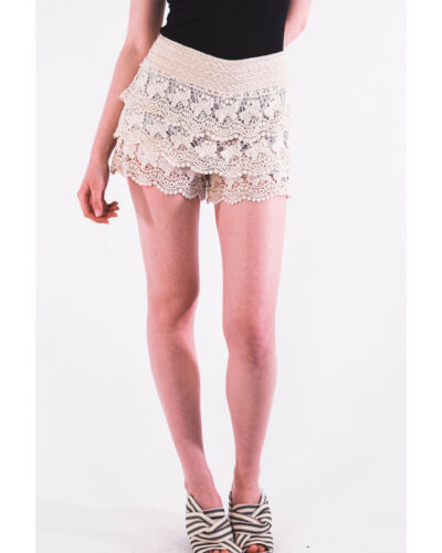 Lady Floral Crochet elasticated waist Cotton mini shorts holiday beach wear